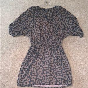 Express Animal Print Sheer Midi Dress